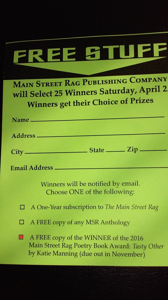 MSR Raffle Entry at AWP16 - Marked